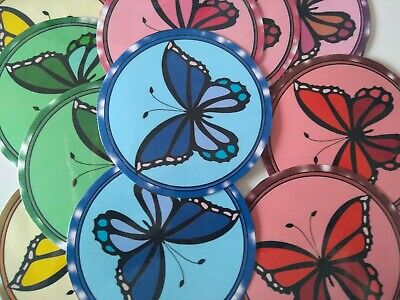 £3 • Buy 12 Handmade, Butterfly, Card Toppers Round Nature Birthday Easter Mother's Day