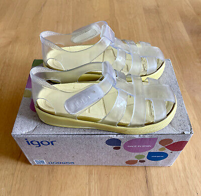 Igor Jelly Shoes - Size 8 - Clear/Yellow - EXCELLENT CONDITION - With Box • 5£