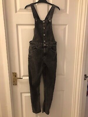 Girls H & M Black Washed Look Dungarees Age 10-11 (146cm) • 4.70£