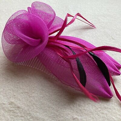 Pink Cerise Feather Fascinator On Comb. Never Worn. Races Wedding Fashion Hat • 9.99£