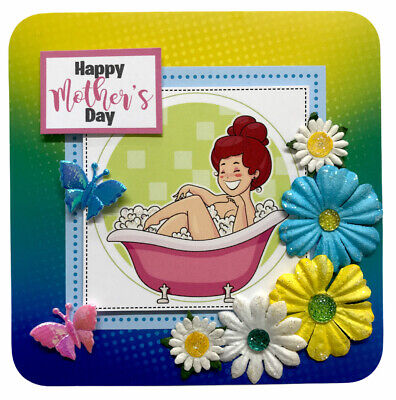 "£1.49 • Buy 1 Relaxing Bath Mothers Day Topper 4"" Hand Made For Card Making 10.5cm (B307)"