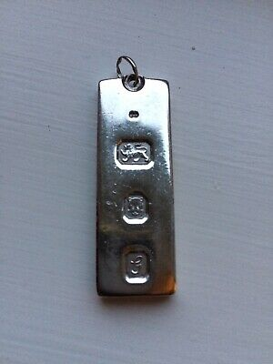 Vintage Solid Silver Ingot Pendant 1oz (Uk Seller) • 48£
