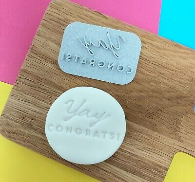 Cookie Cake Embosser 'Yay Congrats!' Congratulations Stamp • 4.75£