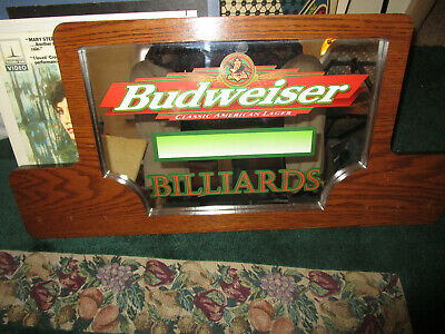 $ CDN62.02 • Buy BUDWEISER BEER SIGN MIRROR   BILLIARDS   Pool Classic AMERICAN Lager MAN CAVE