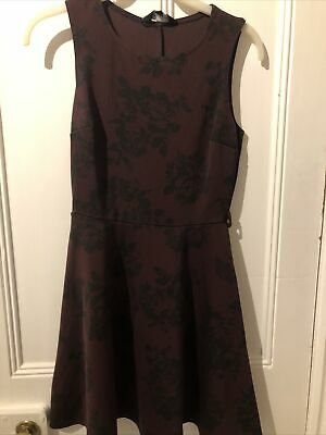 NEW LOOK Women Floral Black And Burgundy Dress (Size UK 8) • 0.99£
