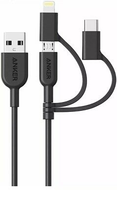 AU24.14 • Buy Anker Powerline II 3-in-1 Cable Lightning/Type C/Micro USB Cable For IPhone +++