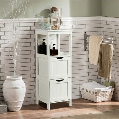 £34.99 • Buy Bathroom Floor Cabinet Free Standing Storage Unit With 2 Drawers And 1 Shelf