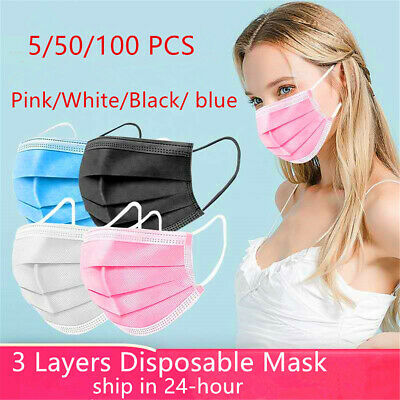 AU13.99 • Buy 50PCS Face Mask High Protective 3 Layer Mouth Masks Disposable Mask Surgical CE