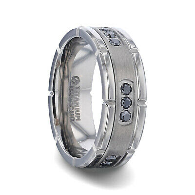 $456 • Buy Titanium Band With Double Grooved Edges & 3 Sets Of Black Diamonds - 8mm, NEW