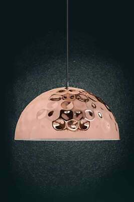 Zenner Copper Pendant Light Fitting White Inner Fabric Cable Matching Ceiling • 90.99£