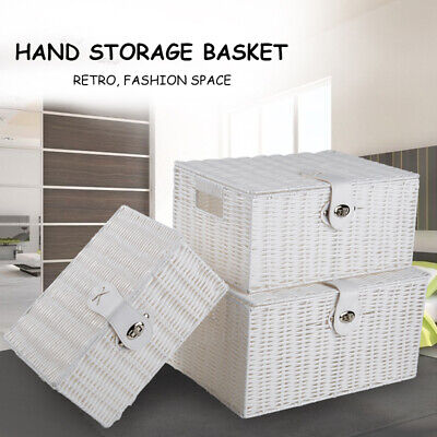 Stackable Set Of 3 Storage Baskets Resin Wicker Woven Hamper Box Lid  Lock Tidy • 18.99£