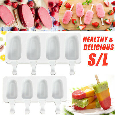 4/8 Cavity Silicone Frozen Ice Cream Mold Juice Popsicle Maker Ice Lolly Mould • 2.99£