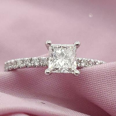 Real Solid 14K White Gold 1ct Princess Cut Diamond Engagement Wedding Ring • 549.99£