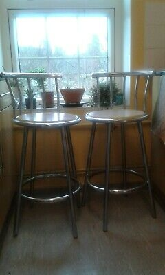 2BREAKFAST BAR STOOLS. CHROME WITH WOODEN SEAT. 4 SPLAYED-LEG 93cm HIGH, • 30£