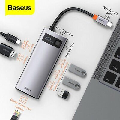 AU36.04 • Buy Baseus USB C Hub 8in1 PD RJ45 Ethernet 4K HDMI SD MicroSD MacBook IMac Adapter