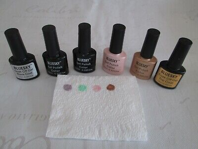 6 Bundle Bluesky Uv/led Gel Nail Polish/varnish Creme/shimmer/top And Base • 12£