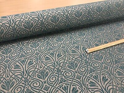 Art Deco Jacquard Fabric Upholstery Furnishing Material Grey Teal140 Cms Wide • 14.99£