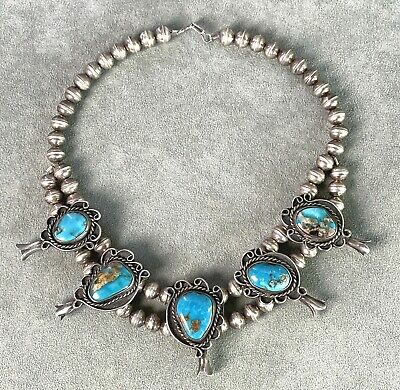 $ CDN951.51 • Buy Vintage Turquoise Squash Blossom Necklace 16  Sterling Bench Made Beads Navajo