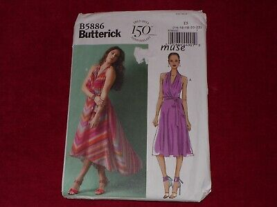 🌺  Butterick #b5886-ladies Beautiful High - Low Halter Dress Pattern 14-22 Ff • 7.23£