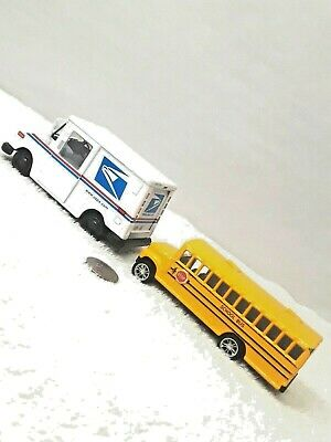 $19.57 • Buy USPS Mail Truck And School Bus Pull Back Action 1/36 Scale JM35
