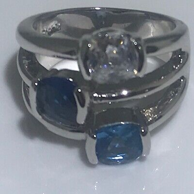 $ CDN5.04 • Buy Lia Sophia Blue Bayou Ring Crystals & Cubic Zirconia Size 7 Retired  Statement