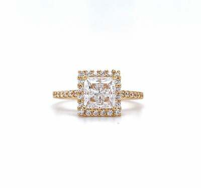 REAL SOLID 14K Yellow Gold 1ct Princess Diamond Halo Engagement Wedding Ring • 549.99£