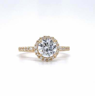 REAL SOLID 14K Yellow Gold 1ct Round Diamond Halo Engagement Wedding Ring • 549.99£