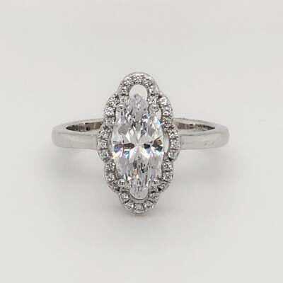 REAL SOLID 14K White Gold 2ct Marquise Cut Diamond Halo Engagement Ring • 549.99£