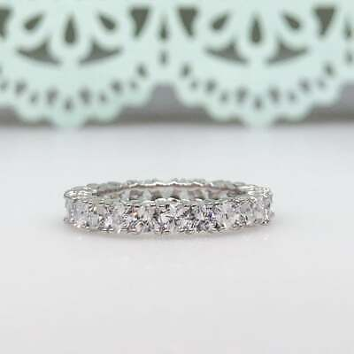 REAL SOLID 14K White Gold 3.2ct Heart Cut Diamond Eternity Engagement Ring • 549.99£
