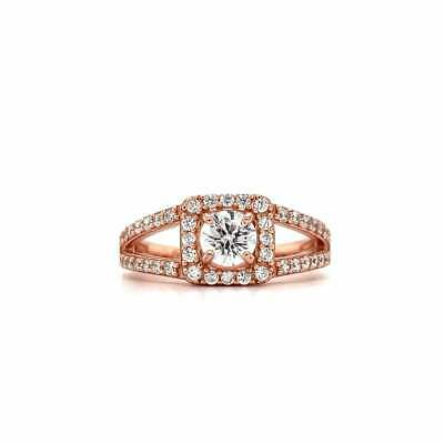 REAL SOLID 14K Rose Gold 1ct Round Cut Diamond Engagement Wedding Ring • 549.99£