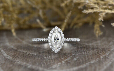 REAL SOLID 14K White Gold 1ct Marquise Diamond Halo Wedding Ring (WITH VIDEO) • 549.99£