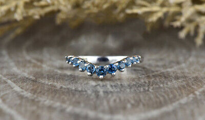 REAL SOLID 14K White Gold 1.3ct Round Blue Diamond Wedding Ring (WITH VIDEO) • 549.99£