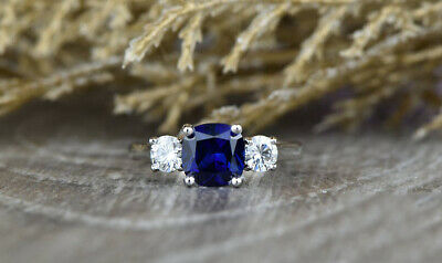 REAL SOLID 14K White Gold 2ct Cushion Cut Sapphire Wedding Ring (WITH VIDEO) • 549.99£