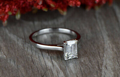 REAL SOLID 14K White Gold 1ct Emerald Cut Diamond Solitaire Engagement Ring • 549.99£
