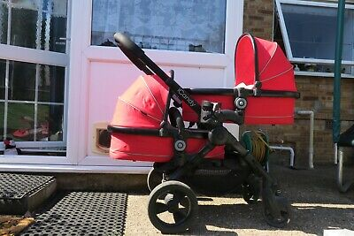 Icandy Peach 3 Travel System Twin Red. Cots & Seats. With Parasol & Cup Holder • 449£