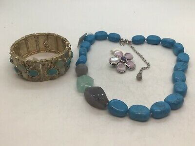 $ CDN49.98 • Buy Lia Sophia Lot Of Jewelry:Turquoise Necklace, Gold Stretch Bracelet & Brooch NWT
