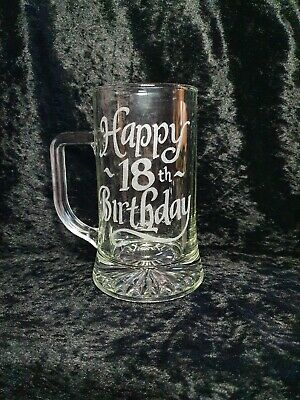 Hand Engraved Happy 18th Birthday Glass Tankard • 9.99£