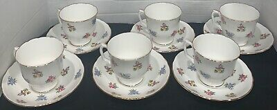 Staffordshire Bouquet Fine Bone China Tea Cup And Saucers England Set Of 6  • 46.50£
