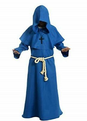 Blue Color Medieval Reenactment Hood & Tunic Middle Ages Clothing Fancy Design • 63.75£