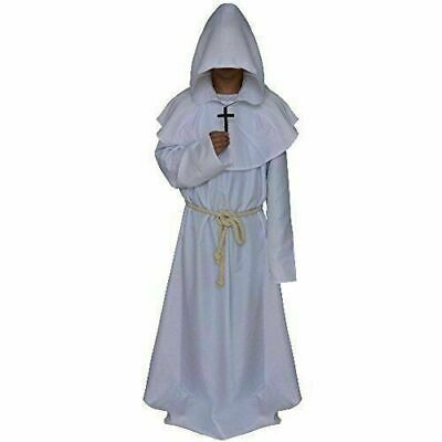 White Color Medieval Reenactment Hood & Tunic Middle Ages Clothing Fancy Look • 65.91£