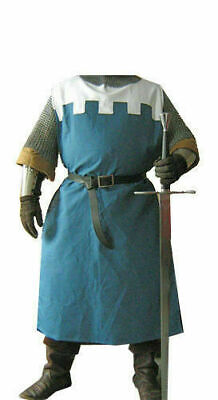 Medieval Clothing Costumes Crusader Surcoat Reenactment Tunic White&Blue Theater • 41.49£
