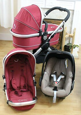 Lovely Icandy Peach Red All Terrain Jogger Travel System 3 In 1 Maxi Car Seat  • 325£