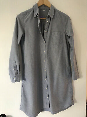AU12 • Buy Uniqlo Size S Chambray Cotton Button-Up Relaxed Fit Shirt Dress