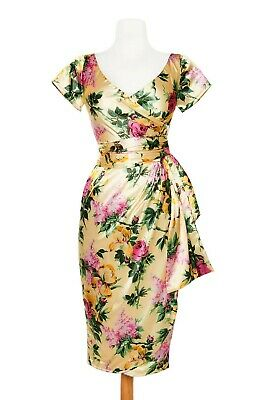 AU80 • Buy Pin-up Girl Clothing PUG Ava Sarong Wrap Dress In Cream Floral M
