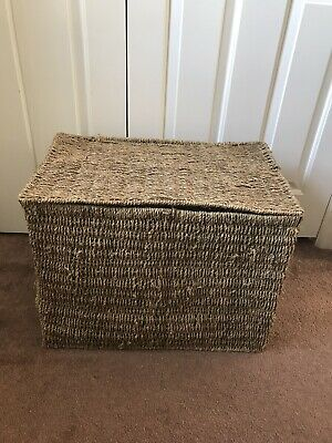 Large Wicker Woven Basket With Flip Lid And Handles W59xH43xD37 • 3.19£