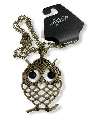$ CDN10.12 • Buy OWL Pendant Necklace Jewelry Bronze Tone 18  Long NEW With Tag - ADORABLE!
