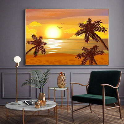 Yellow Painting Sunset At Sea Canvas Wall Art Picture Print • 12.99£