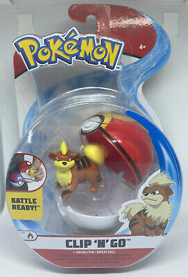Pokemon CLIP 'N' GO Growlithe With Repeat Ball BATTLE READY FIGURE Brand New • 9.26£