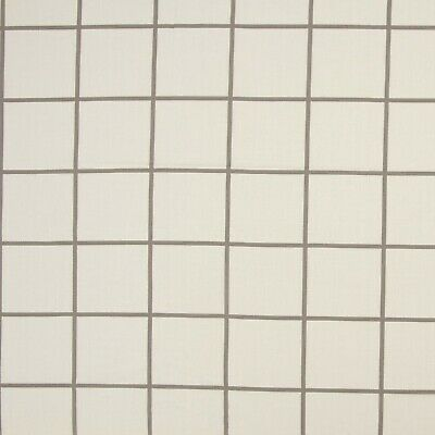 £1.50 • Buy LARGE FABRIC REMNANT WHITE GREY SQUARES  48cms X 134cms  POLY COTTON
