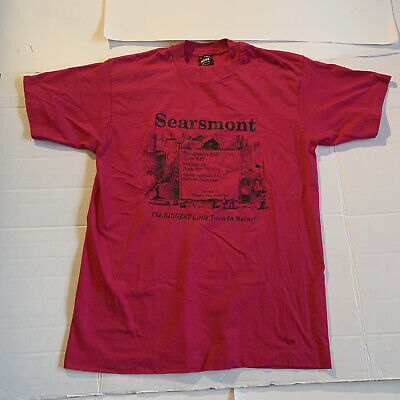 $ CDN28 • Buy Vintage Searsmont Maine Large Fruit Loom USA 50/50 T Shirt Pink